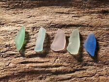 Genuine Surf Tumbled Beach  Sea Glass ~JQ~ Beautiful Lot Of 5 ( P-G1)