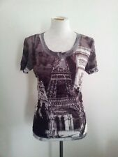 Individual Style! Seven Sisters size 1 brown & white polyester short sleeve tee