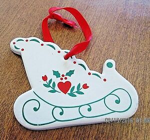 Ceramic Sleigh Heart & Holly Hanging Ornament Figurine Christmas