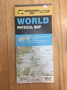 World Physical Map 308 21st ed (International Map) by UBD Gregory's.