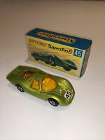 Matchbox Superfast No 45 Ford Group 6; mint cond; Lime VERY RARE GREY BASE ;+box