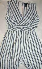 Women's Aqua Crepe Sleeveless Jumpsuit White/Blue Stripe Small