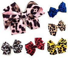 Leopard Print Hair Bow Clips Girls Ladies Hair Accessories Clip Bows