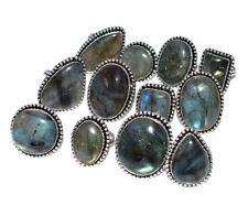 30pcs Ring Lot Natural Labradorite Gemstones 925 Sterling Silver Overlay
