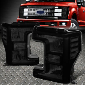 FOR 17-19 FORD F250 F350 SUPER DUTY SMOKED HOUSING CLEAR CORNER HEADLIGHT LAMPS