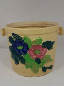 Made In Japan - VTG Glazed Pottery Ice Bucket or Flower Pot Hand Painted - Rare!
