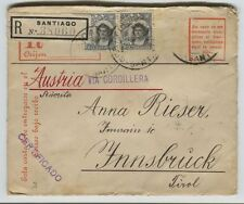 1910 Registered Santiago Chile to Innsbruck Austria via Cordillera Postal