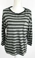 VINCE Black Gray Stripe Drop Shoulder Pocket T Shirt Size M NWD
