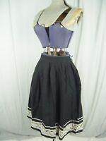 """Vtg 50s Handmade Black Cotton White Lace Full Skirt-Waist 25"""",AS-IS"""