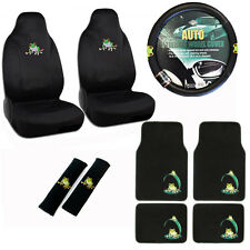 New Green Tree Frog Car Seat Covers Steering Wheel Cover & Floor Mats Set