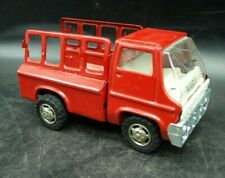 "VINTAGE 1968 MARX RED FIRE TRUCK PRESSED FOLDED STEEL 6"" (G3)"