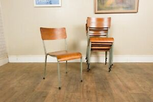 Vintage Retro Stacking Metal School Chairs - 10 Available
