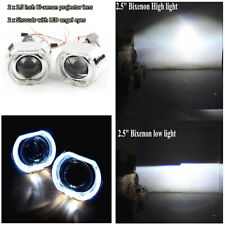 """2.5"""" Square LHD Beam HID LED Angel Eyes Halo DRL Bi Xenon Lens Projector Set"""