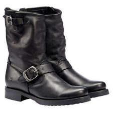 Frye Women's Veronica Short Buckle Moto Boots, Black Leather NEW