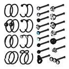 32pcs/lot Nose Hoop Ring Set Surgical Steel Bar Bone Studs Piercing Rings 20g