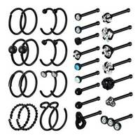 32PCS Nose Hoop Ring Bone Studs Surgical Steel Straight Bar Lip Ear Piercing 20G