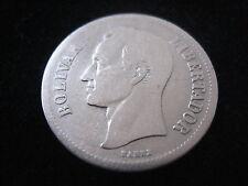 """MDS venezuela 2 bolivares 1922 """"bolívar libertador"""", plata #35"""