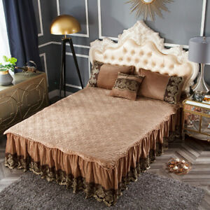 European Velvet Zipper Embroidered Lace Bedspread Queen Ruffled Bed Skirt Cover