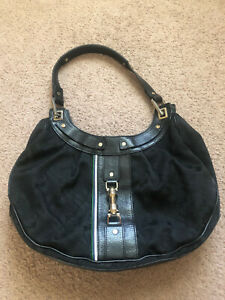 L.A.M.B. Gwen Stefani Black Hobo Fabric Logo Purse Handbag