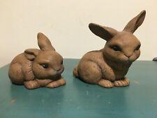 Set of 2 Ceramic Handpainted Brown Bunny Rabbit Figurines - Cute Sweet Faces