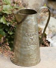 Rustic Primitive Farmhouse Country Living Pitcher w Handle Galvanized Tin