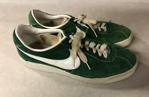 NIKE Bruin Green Suede Shoes 1970'S VINTAGE 6 1/2 Rare Sneakers Swoosh TAIWAN