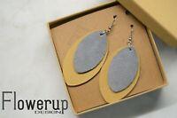 Handmade lightweight gray mustard real leather statement earrings