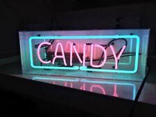 "New Candy Neon Light Sign Acrylic Box 17"" Real Glass Handmade Display"