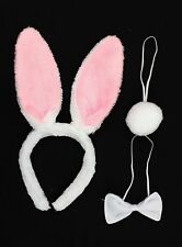 Bunny Rabbit Headband Ears Tail and Bow Tie Fancy Dress Set Halloween Hen Party