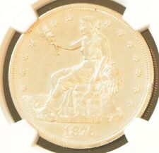 1876 US Trade Dollar Silver Coin NGC AU Details