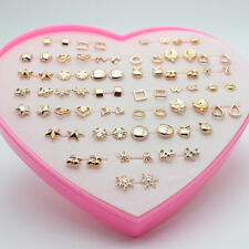 12/36Pairs Women Gold Silver Plated Heart Love Star Stud Earrings Party Gift Lot