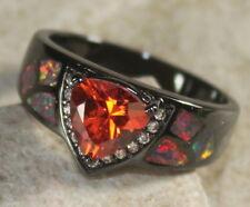 BLACK SILVER Elegant Orange Fire Opal & Orange Red Garnet Ring Size 8, WR40805