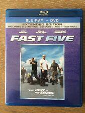 FAST FIVE Two-Disc Blu-ray DVD Combo Vin Diesel Paul Walker Dwayne Johnson
