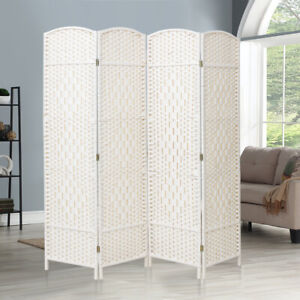 4/6 Panels Ventilated Wood Slat Privacy Screen Folding Room Divider Partition