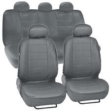 Synthetic Leather Gray Car Seat Covers Genuine Leather Feel Front Rear Full Set