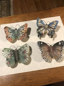 4 HAND PAINTED MAGNETIC BUTTERFLY CURTAIN TIE BACKS ACRYLIC
