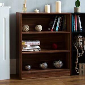 Cambridge 3 Tier Low Bookcase Shelving Display Storage Unit Wood Stand Walnut