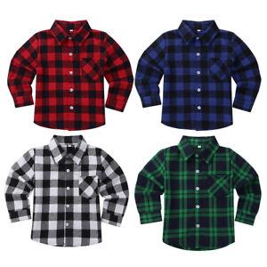 Toddler Kids Girls Long Sleeve Shirt Plaid Flannel Tops Button Down Cotton Shirt