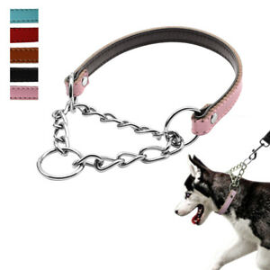 Leather Half Chain Martingale Collars Training for Medium Large Breeds Pit Bull