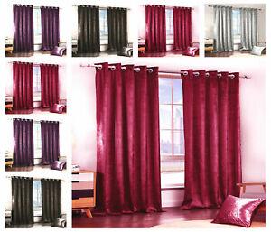 Plain Velvet Curtains Eyelet Ring Top Thick Long Velvet Ready Made Fully Lined