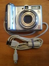 Canon Power-Shot A560 7.1-MP Digital Camera Silver USB cable hand strap TESTED