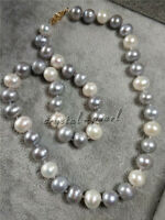 30/20/18/16 ''natural 8-9mm AAA+ white GREY pearl necklace 14k gold clasp