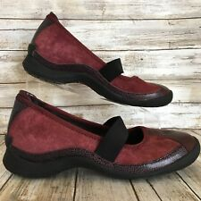 Hush Puppies Womens Size 9M Burgundy Suede Slip On Casual Mary Jane Shoe Loafer