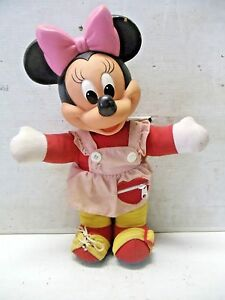 "OLD VINTAGE 1960s Disney Teach me to Dress Minnie Mouse Doll Mattel 15"" Rubber"