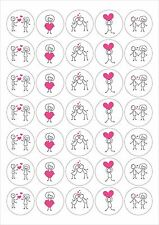 Valentines Love Heart Stick People Stickers 5 a4 sheets 175 Stickers Matt Rounds