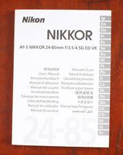 NIKON 24-85/3.5-4 AF-S NIKKOR G ED VR INSTRUCTION BOOK/196914