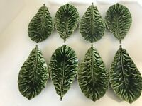 8 Pc  Marketplace Pottery Green Veined Leaf Footed Appetizer Snack Plates, Italy