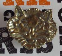 Ancien Porte Savon Salle de Bain Laiton Métal doré Vintage Tête de Chat 1970