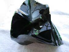 New listing Glass slag rock black with green flecks 5 lbs. 8 oz. indoor or outdoor decor