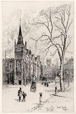 "Great 1800s Original Herbert RAILTON Etching ""Temple Church, London"" SIGNED COA"